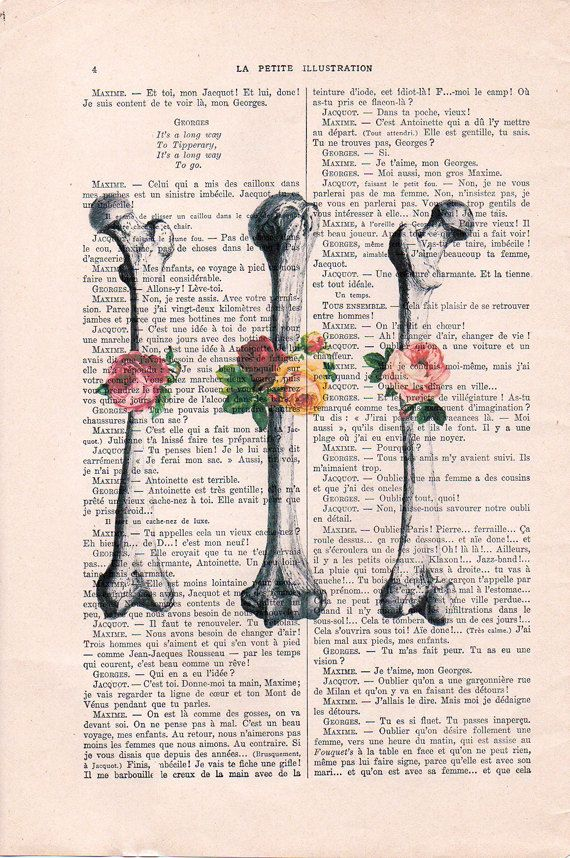 Retro Anatomy Art, Bones, Vintage Flower, Doctor Gift,Speedy ...