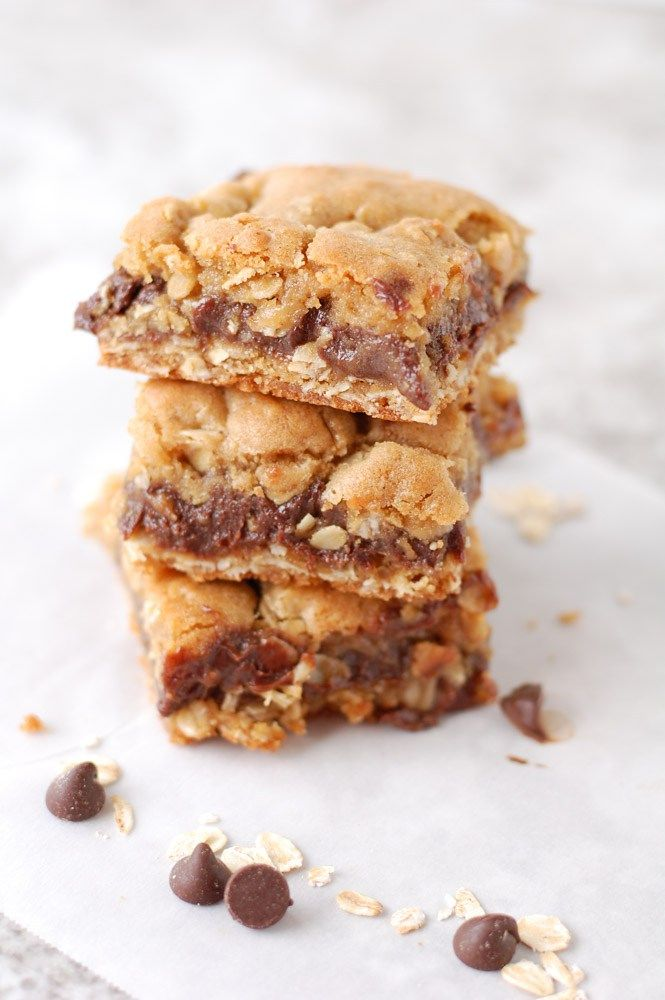 Oatmeal Fudge Bars is a amazing cross between an oatmeal cookie and fudge. The chocolate center is rich and smooth and the outside is chewy oatmeal cookie.