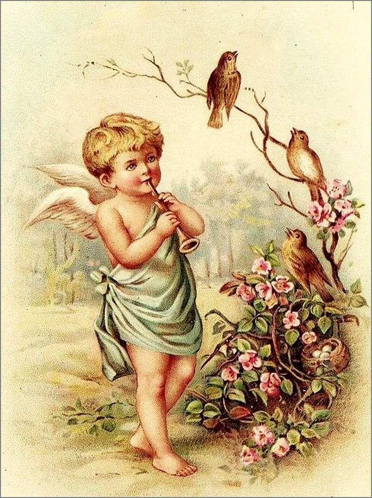 Винтажные открытки ангелы