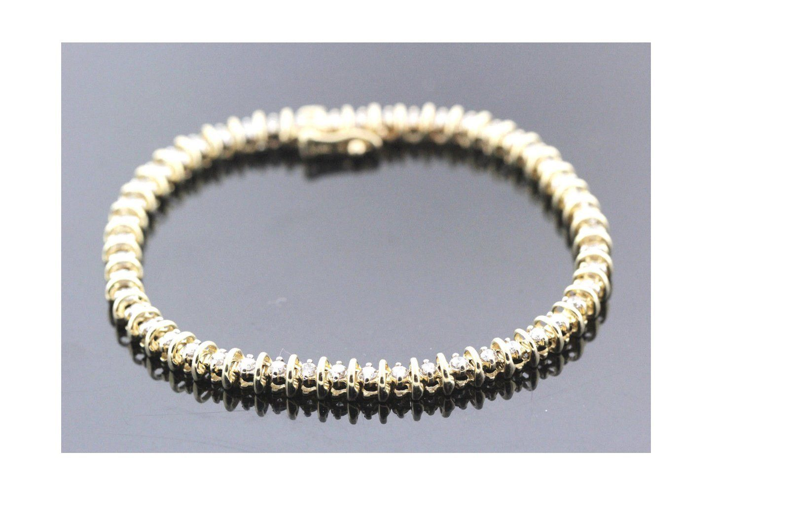 K yellow gold u diamond tennis bracelet tcw ij si g