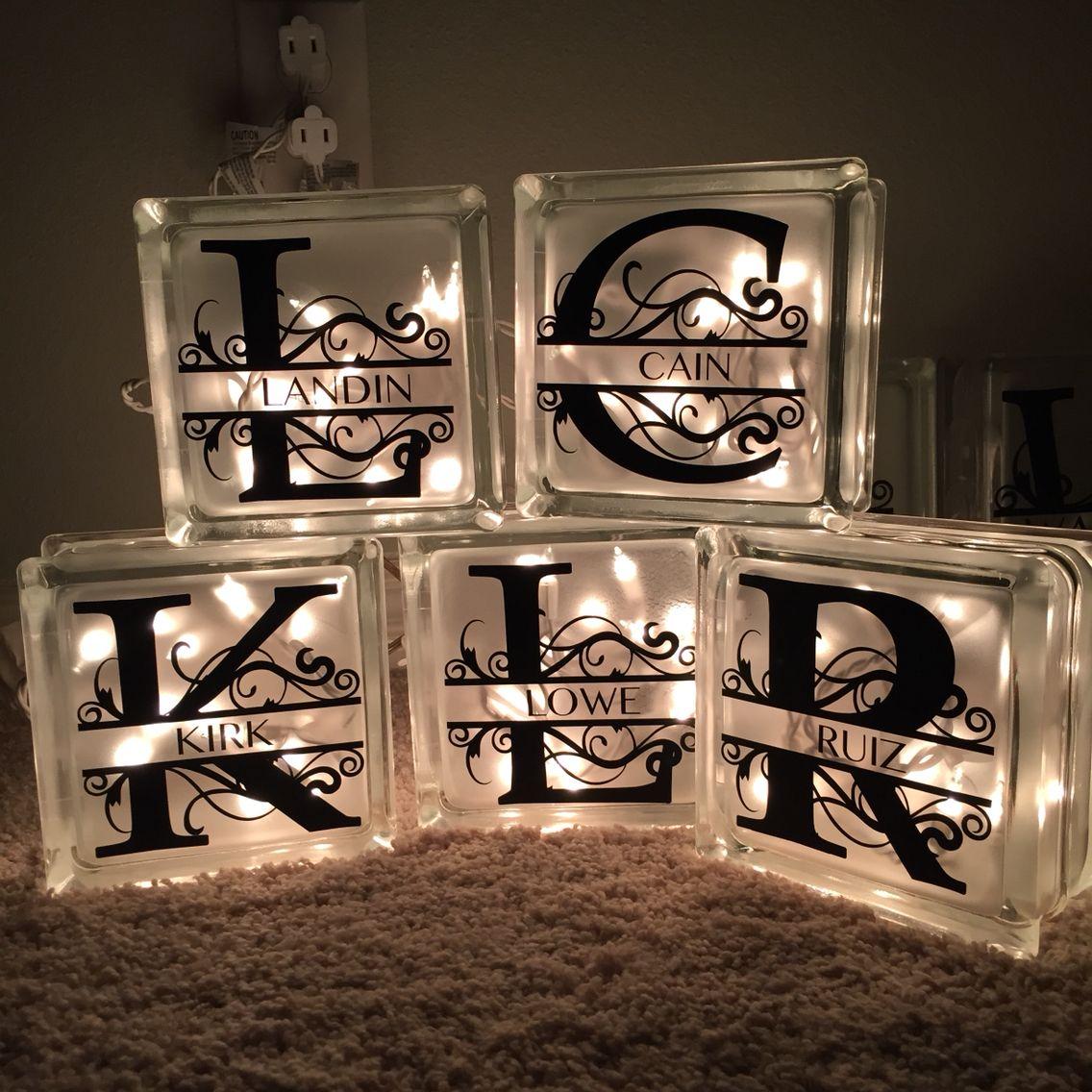 Diy Glass Block Monogram Lights For The Admins At My Husband S