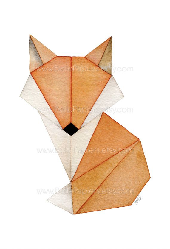 Cute Fox Portrait Origami Watercolor Wall Art Foxes Nursery Decor
