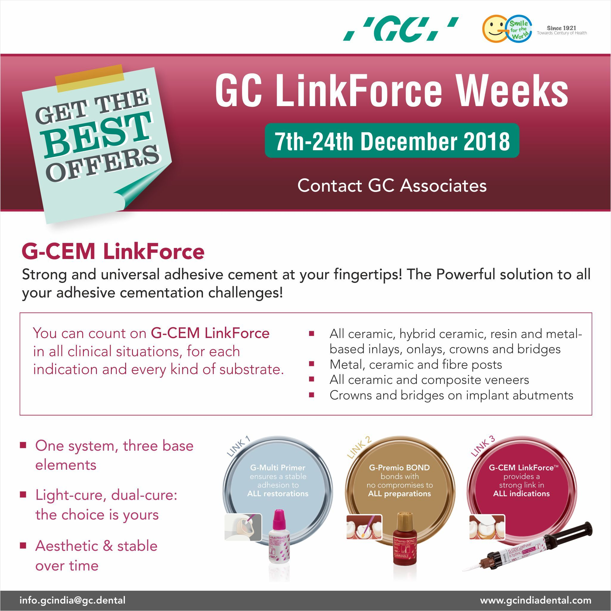 Join The Gc India Linkforce Weeks And Avail The Best Offer G Cem Linkforce From Gc The Universal And Powerful Solution To All Your Dental The Cure Adhesive
