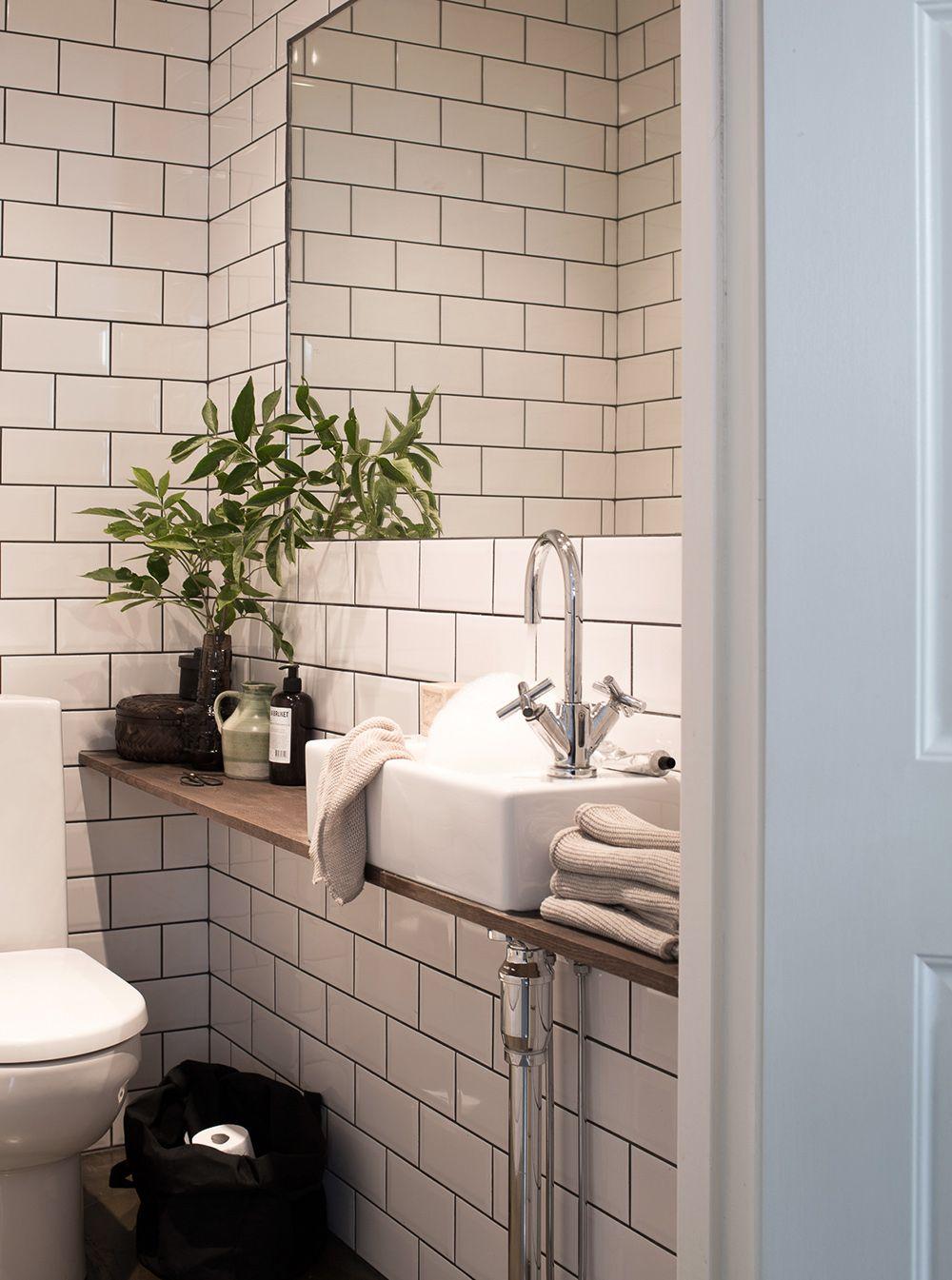 Großer Spiegel Ablage Holz kleines Bad Badezimmer I Small Spaces
