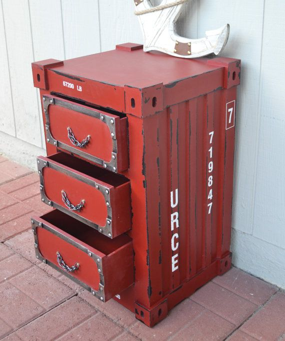 Half Price Distressed Side Table Container Chest With Chain Drawer Pulletal Studs Tickled Teal On Etsy 149 99
