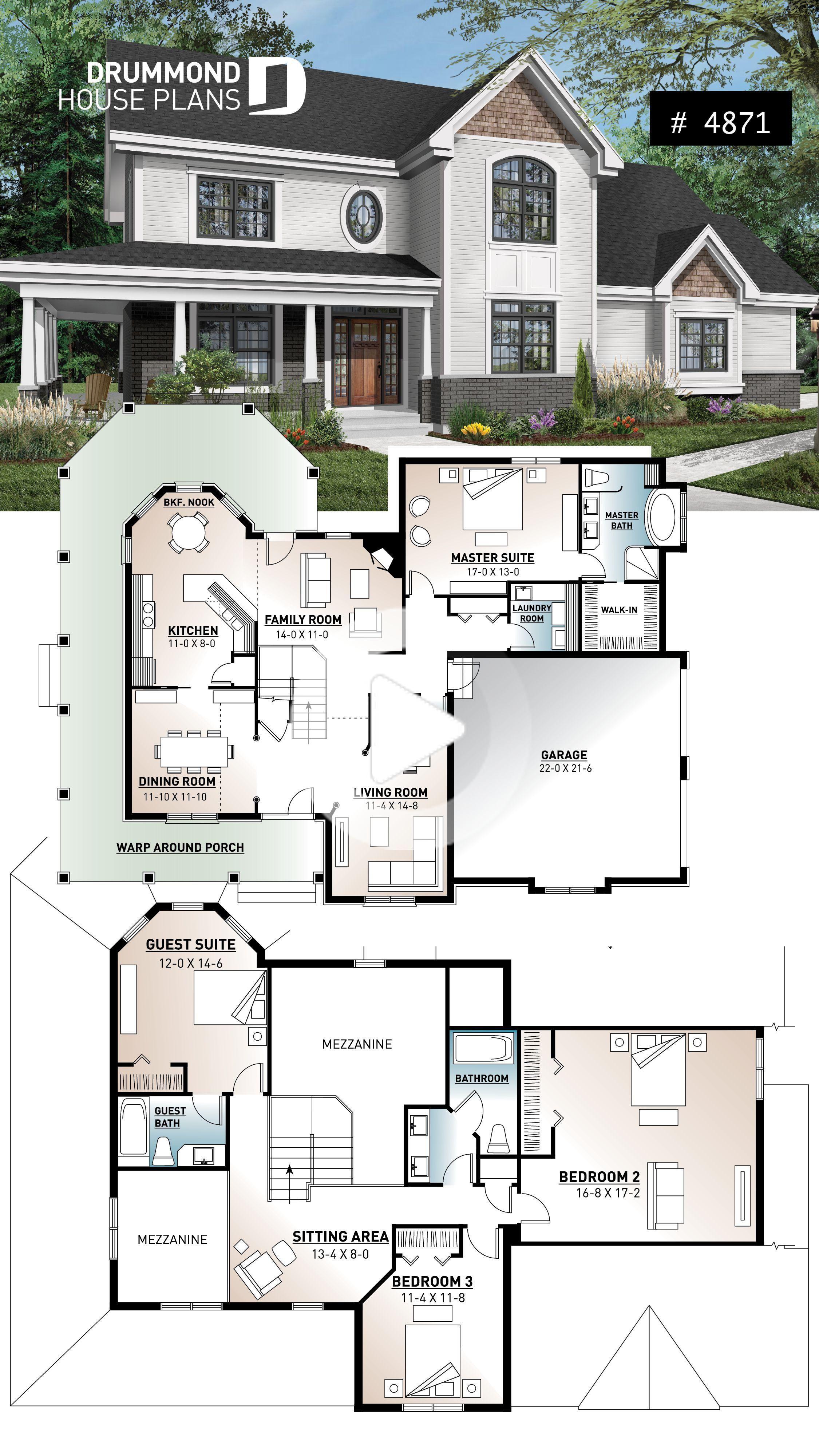 Beau plan de maison traditionnelle avec porche enveloppant, 12 ...