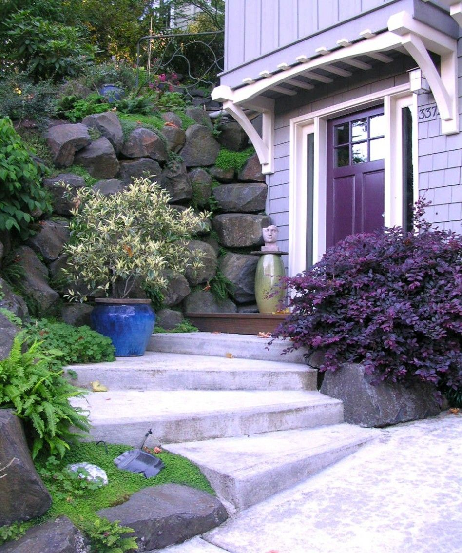 Concrete Front Yard Landscaping: Garden, : Awesome Concrete Stairs United With Front Yard