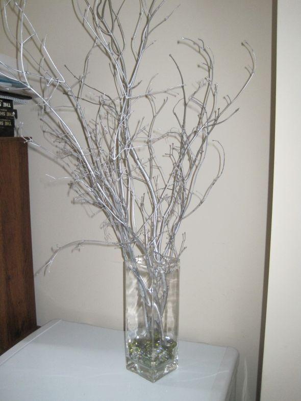 Winter Wedding Silver Branches :  wedding blue branch branches centerpiece centerpieces diy reception silver winter IMG 6415