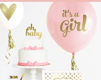 Girl Baby Shower Centerpiece Balloons Are A Great Idea For A Pink And Gold Baby  Shower