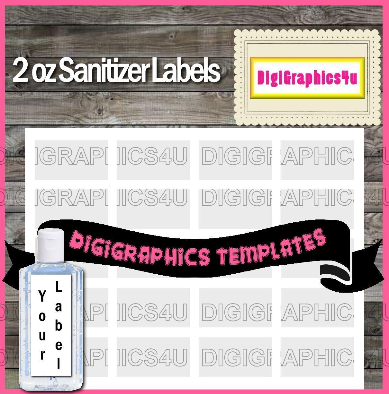Sanitizer 2oz Label Printable Template Instant Download PNG Format ...