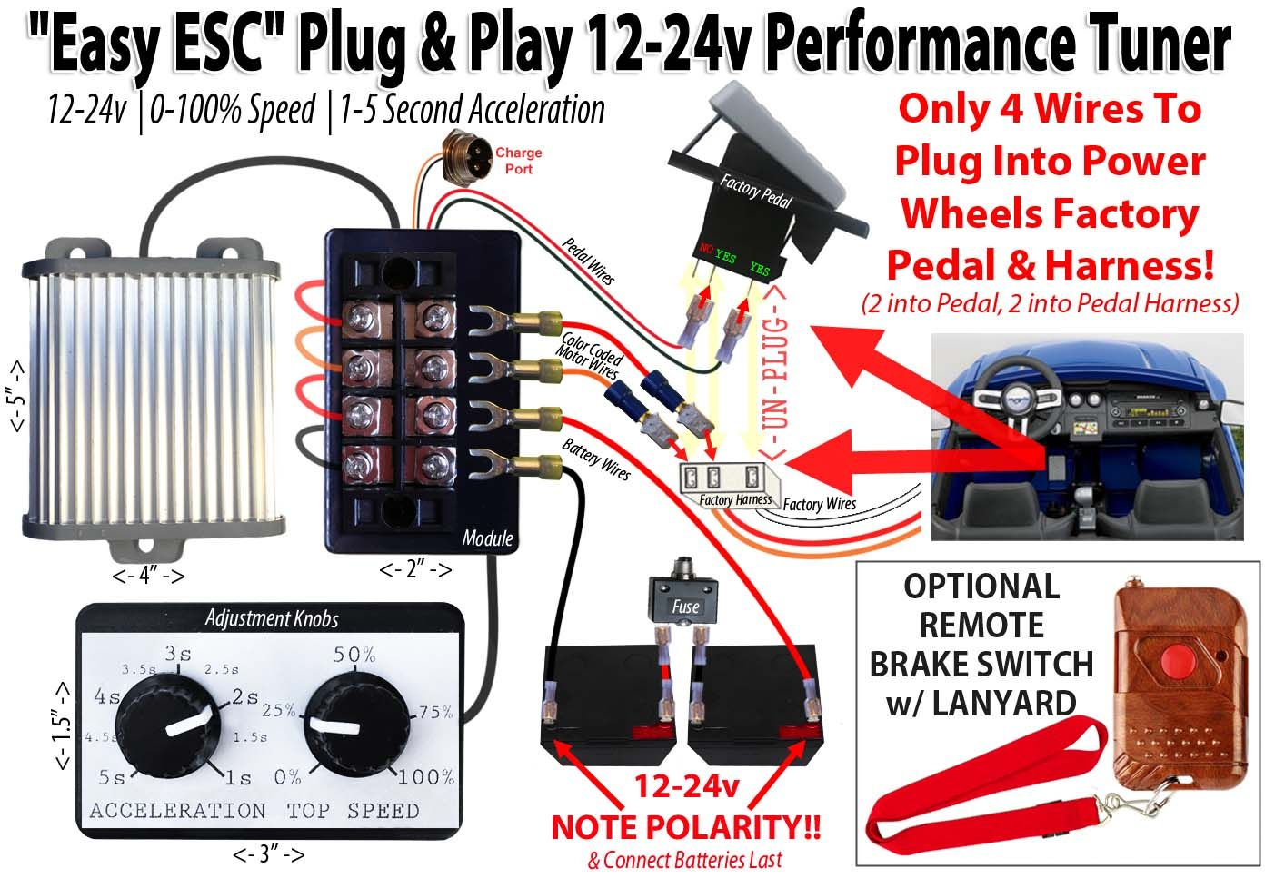 Eastcoast Powerup Easy Esc 12v Or 24v Launch Control For Power Wheels Power Wheels Power Wheels Modified Power Wheels Mods