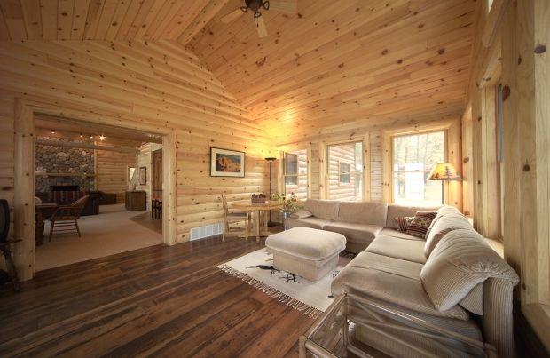 Basement With Log Siding Installed Log Home Interior Log