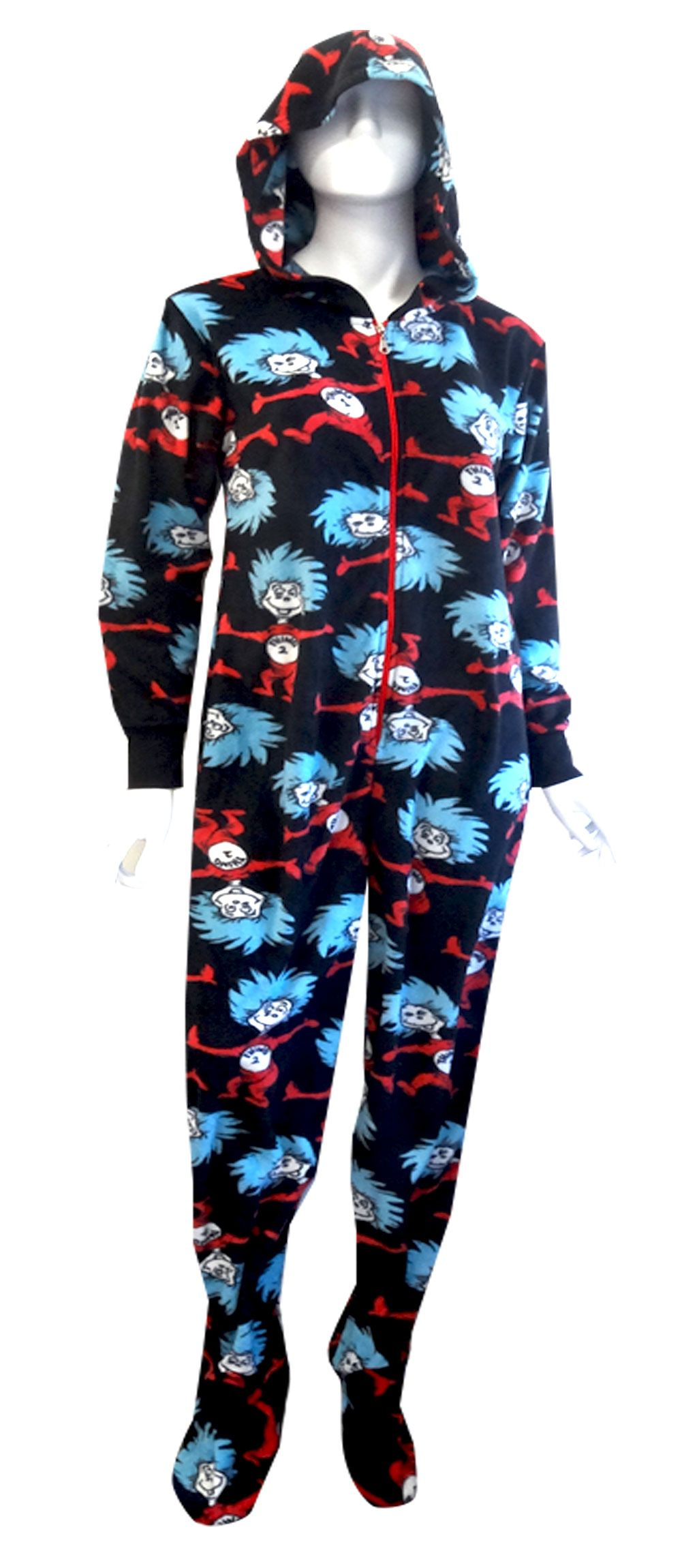 Dr Seuss Thing One   Thing Two Hooded Onesie Footie Pajama The sun did not  shine eed3518579
