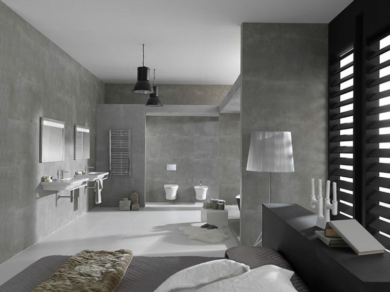 Zona notte con bagno padronale a vista rivestimenti bagni moderni