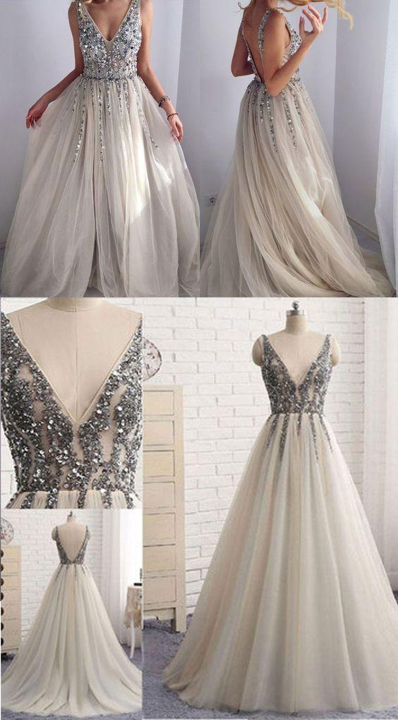 Deep V-neck Beading Sleeveless Silver Prom Dress with Split Backless Evening Dress #backlesscocktaildress