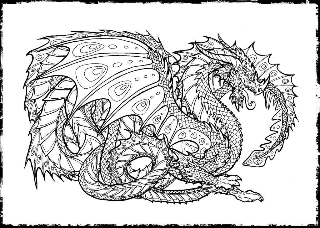 Mandala Animal Coloring Pages Dragon Coloring Page Detailed