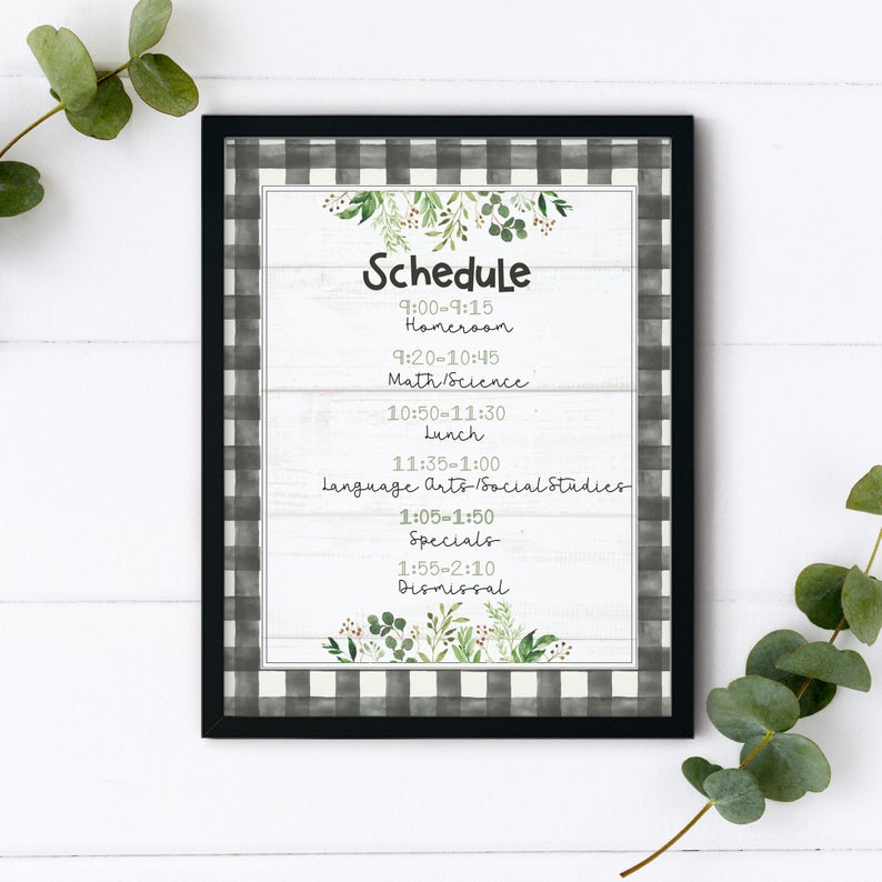 Farmhouse Classroom Schedule  Modern Farmhouse Teacher Decor | Etsy