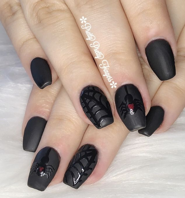 Halloween Spider Web Black Coffin Nails | Black coffin ...