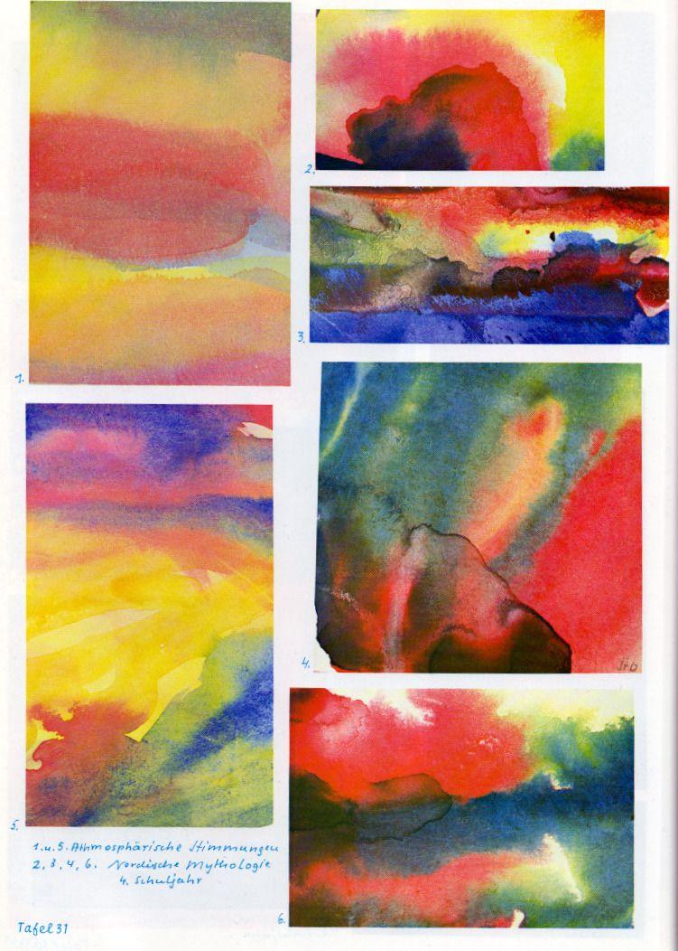 Tafel 31: Atmosphärische Stimmungen der Nordischen Mythologie (4. Schuljahr)  1. Atmosphärische Stimmung [orange-gelber Boden, roter Nebel, gelb-blauer Himmel] oben rechts: 2. Nordische Mythologie [Farbschichtung in Schwarz, Rot, Rosa, Blau und Gelb mit Mischfarben Grün und Orange, weisses Lichtfenster] rechts, zweites Bild von oben: 3. Nordische Mythologie [schwarze Wesen auf blauem Boden, gelb-roter Himmel]  4. Nordische Mythologie [ineinanderfliessende Farben nass in nass] (...)