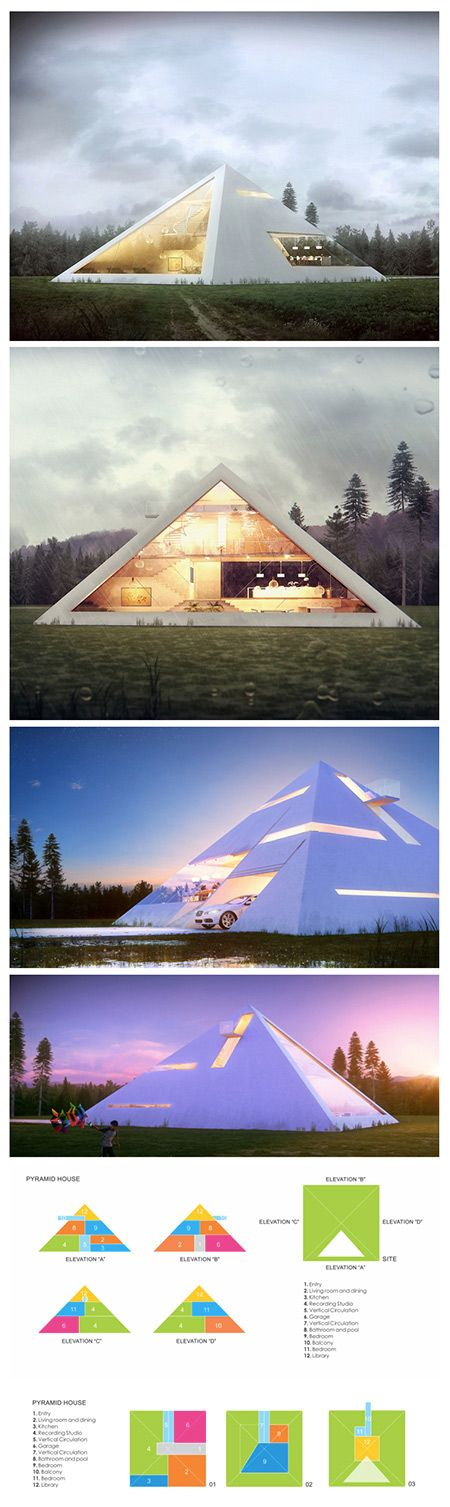 We've seen our fair share of unique modern home designs like the box-shaped metallic house or the abstract fortress made of concrete, but Mexican architect Juan Carlos Ramos has taken on a form less-visited for his aptly titled project Pyramid House—a conceptual pyramid-shaped home created and submitted as a proposal for a recent architecture competition. The simple geometric shape creates a clean aesthetic, while remaining extremely eye-catching due to its iconic though rarely applied for…