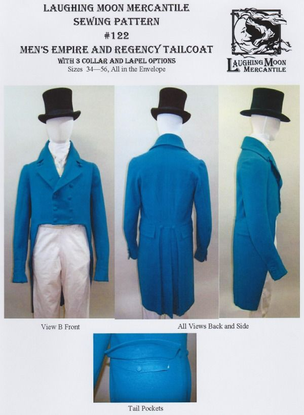727431be654 Laughing Moon  122 - 1806-1820 Regency Tailcoat pattern