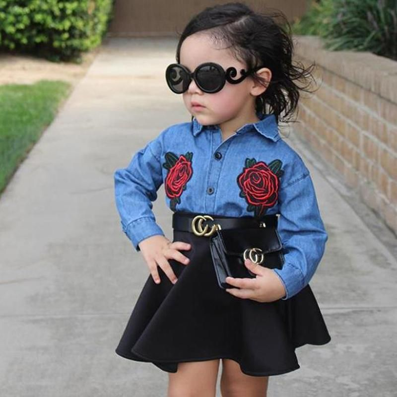 Toddler Kids Baby Girls Outfits Floral Clothes Denim Shirt Tops Tutu Skirt Sets