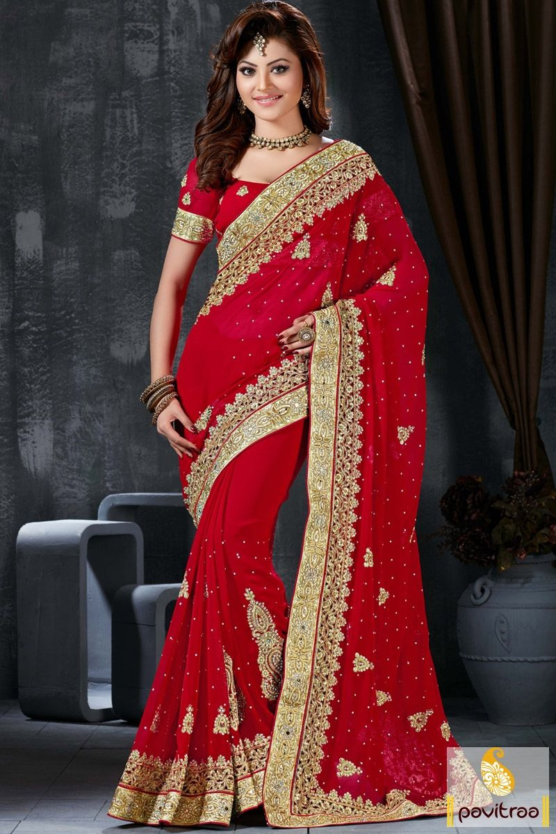 Red Color Heavy Stone Work Bridal Saree Online With Price