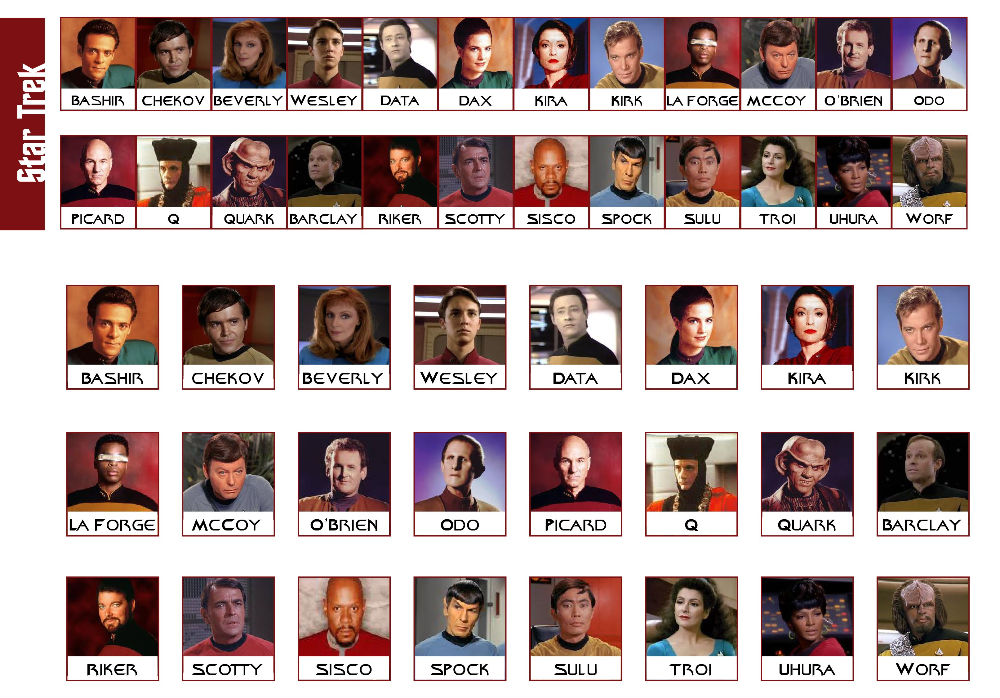 Star Trek for Guess Who game | Guess Who? Card Ideas | Pinterest ...