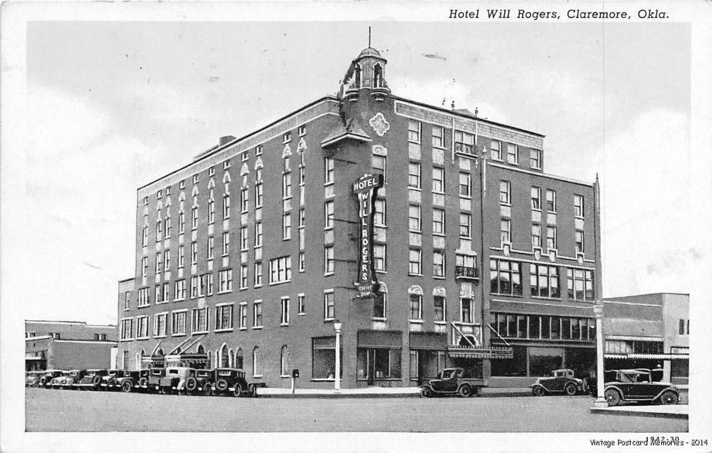 Claremore Ok 1930 Hotel Will Rogers With All The Old Cars Of Era Vintage Gem