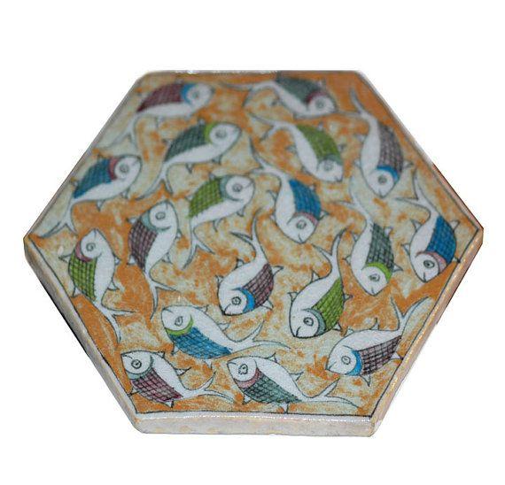 Handmade Persian Ceramic Tile Fish Design By Spiritofireland