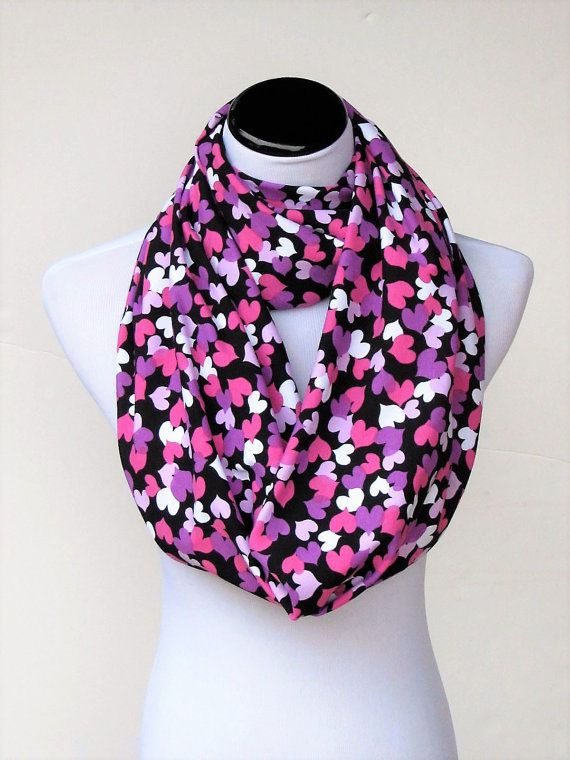 valentines day infinty scarf purple pink lilac black white hearts circle scarf loop scarf valentine day scarf gift for who you love
