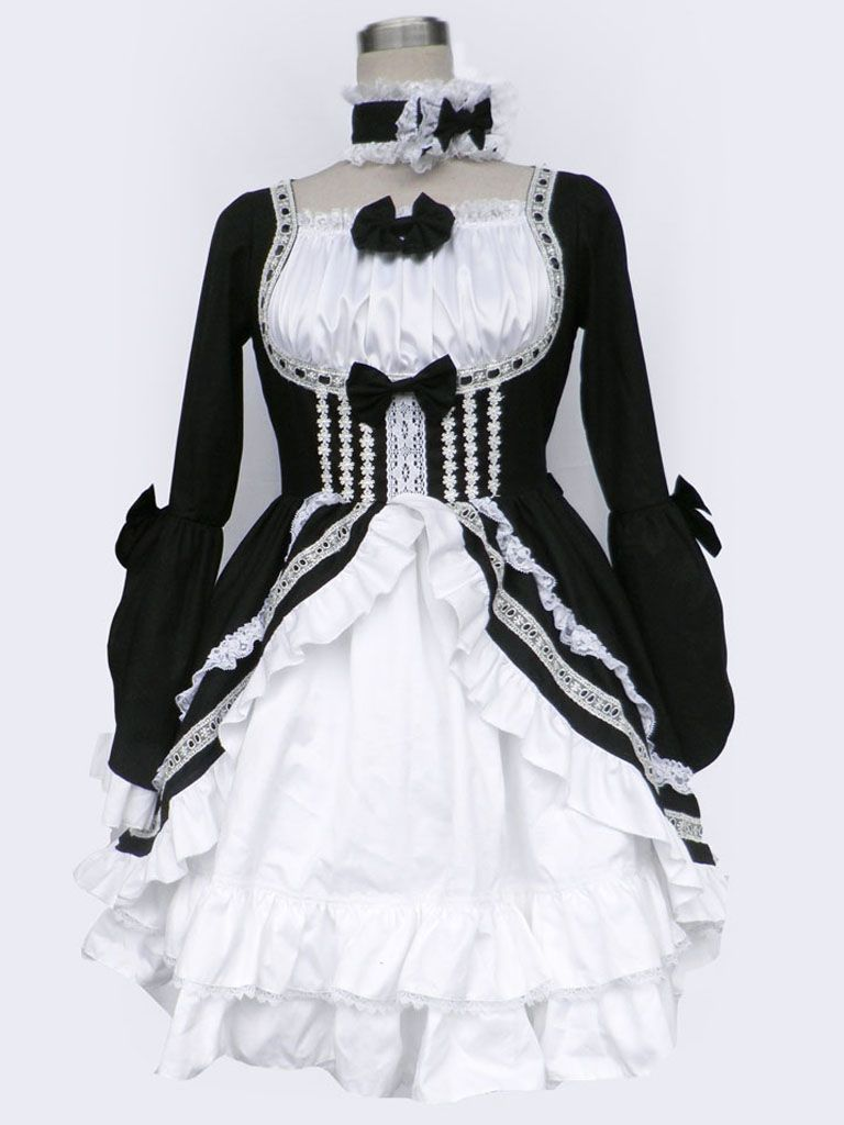 AvaLolita Black and White Long Sleeves Bow Cotton Gothic Lolita Dress,  Customized