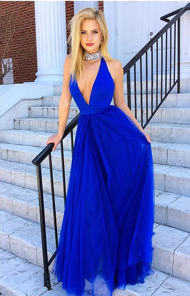 Royal Blue Prom Dress Halter Prom Gownstulle Prom Gownssexy Prom