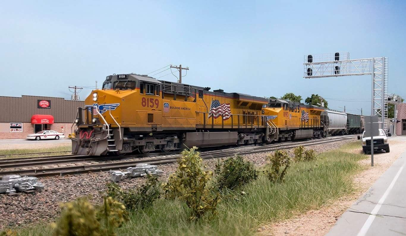 A Union Pacific Cargo Train On This Great Lookin North American H0 Model Railroad Photo Ho Model Trains Model Railroad Model Railway