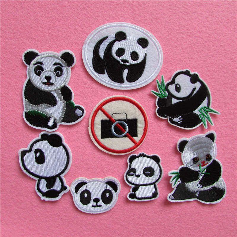 Moda stil panda desenli yamalar şeritler sıcak eritmek yapışkan aplike incelik nakış DIY giyim aksesuar C5166-C5225