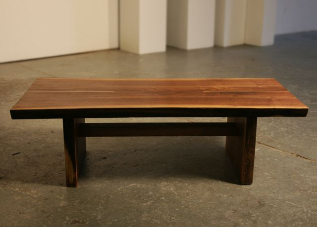 Bookmatched Live Edge Walnut Slab Coffee Table With Curly Maple Inlaid Accents