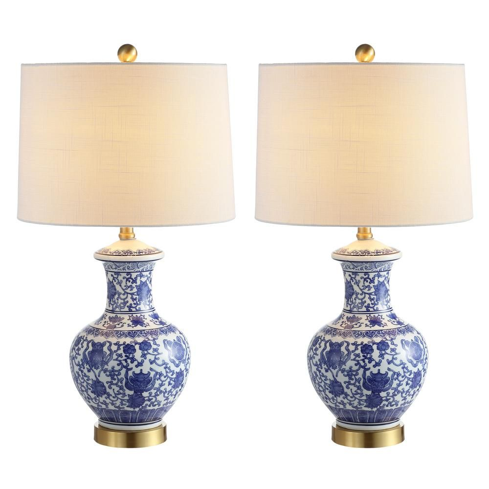 Jonathan Y Jennifer 25 25 In Blue White Ceramic Metal Led Table Lamp Set Of 2 Jyl1072a Set2 Table Lamp Sets Table Lamp Lamp Sets