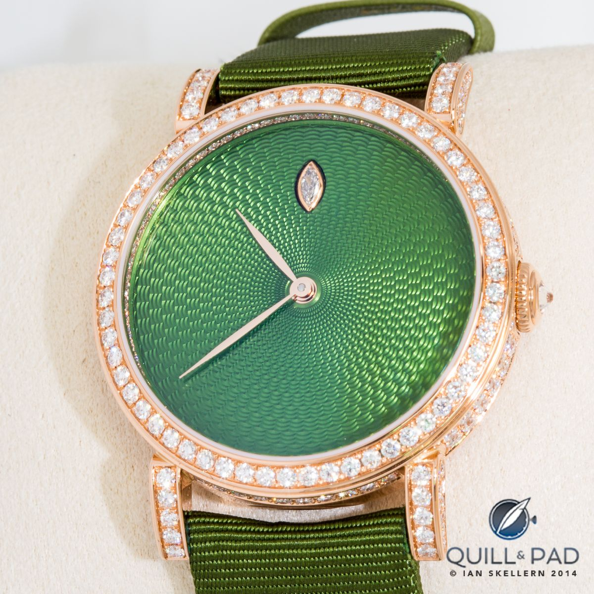93538298537 Green enamel over hand guilloche with diamond-set bezel by Delaneau ...