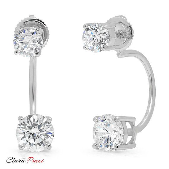 3.20CT Round Brilliant Moissanite Stud Earring Back Screw 14K White Gold Finish