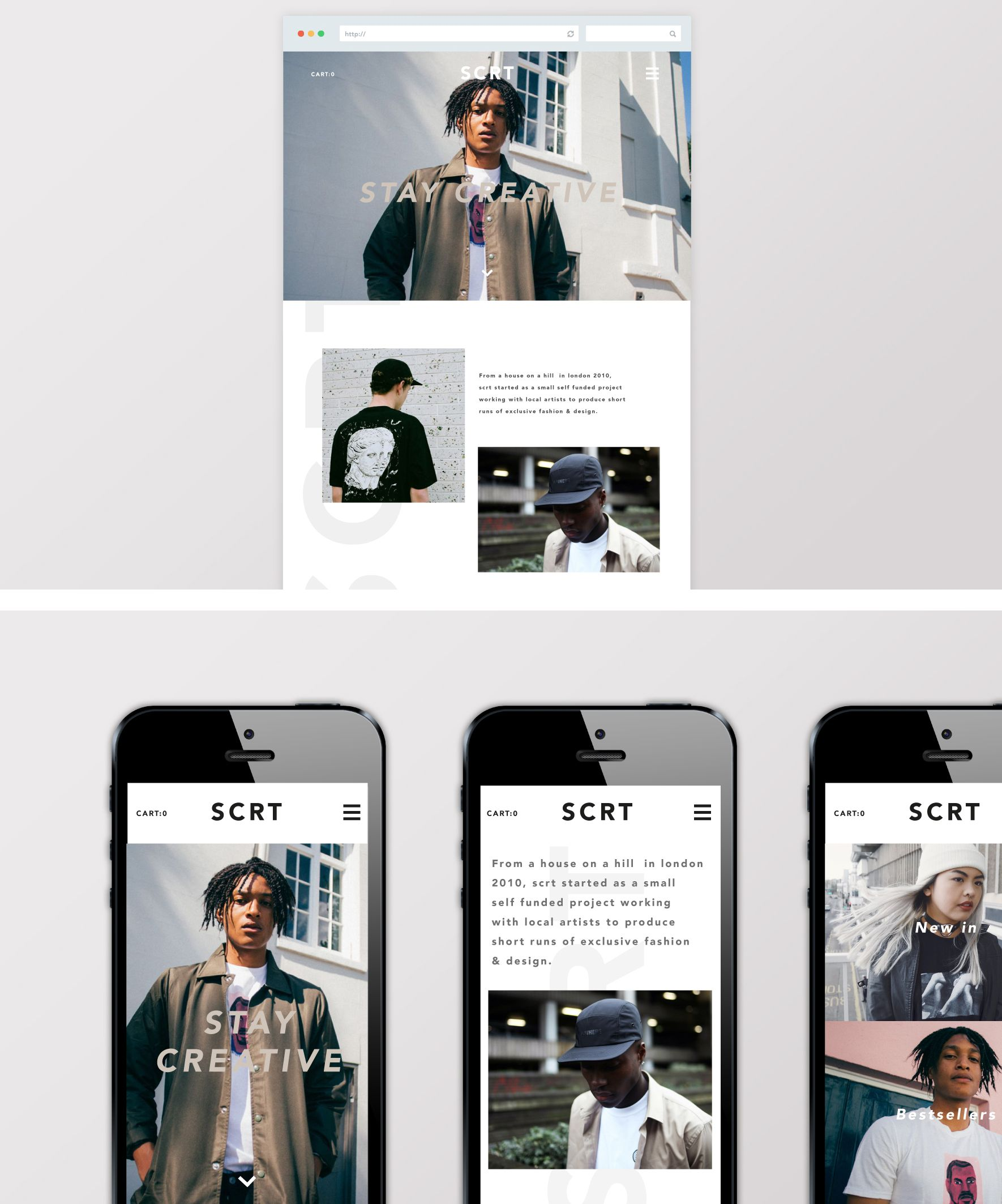 Concepts for SCRT menswear responsive website