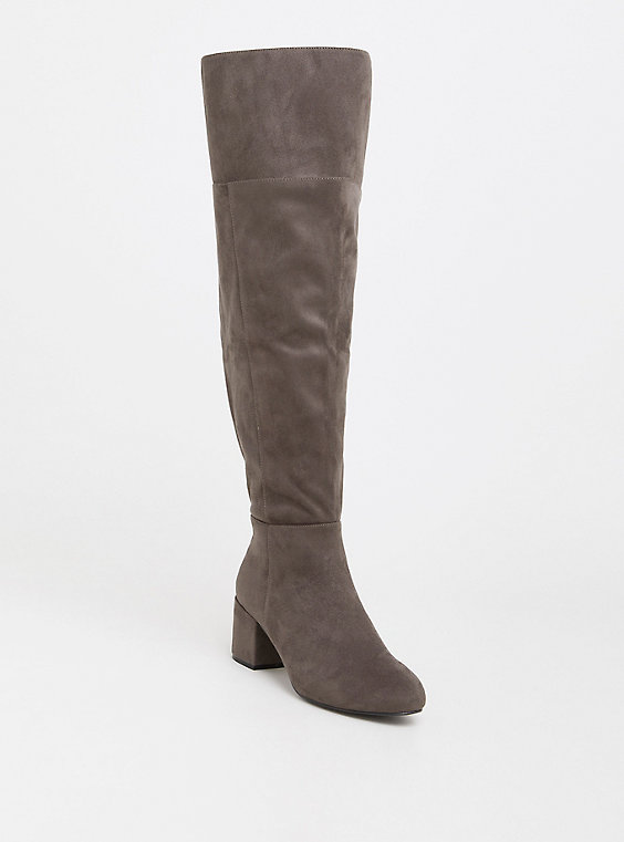 7400b448d9a Wide Width Grey Faux Suede Over the Knee Boot - Wide Width   Extended Wide  Calf