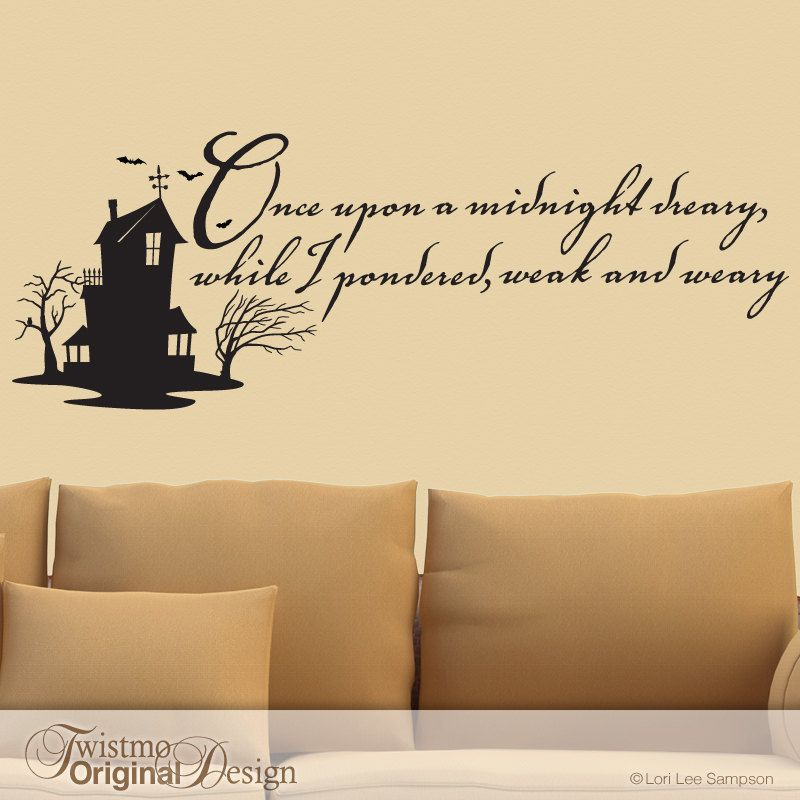 Vinyl Wall Decal Edgar Allan Poe Quote The Raven By Twistmo I Want To Do Something Very Similar In My Offic Vinyl Wall Decals Edgar Allan Poe Edgar Allen Poe