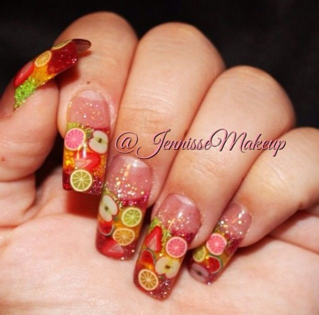 Acrylic Nails By Jennisse With Images Fruit Nail Designs