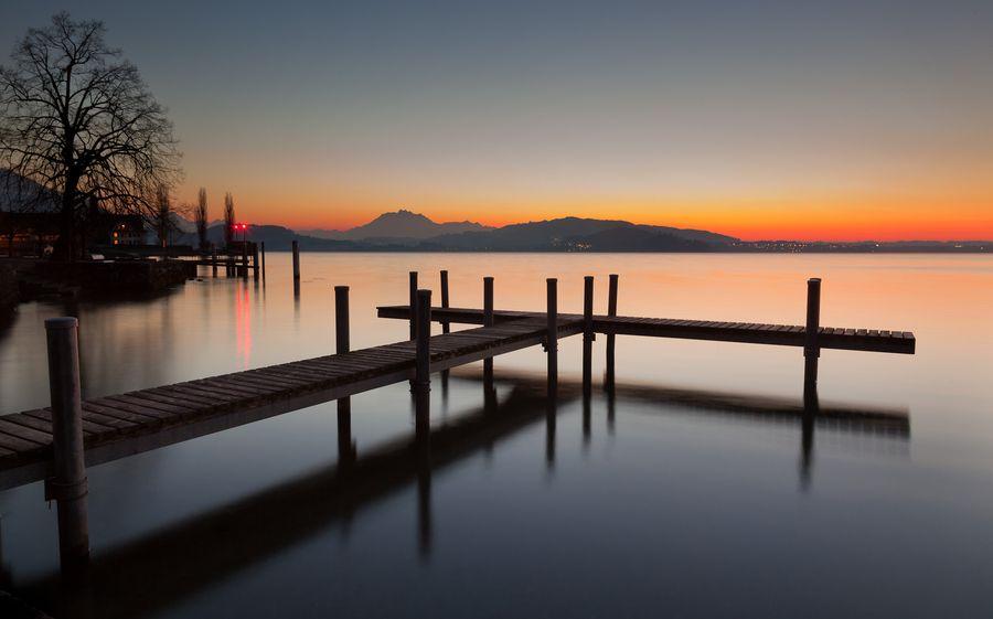 Lake Zug, Switzerland, famous sunset