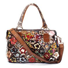 Women Floral Vintage Genuine Leather Handbags Ladies Elegant Casual Shopping Shoulder Bags