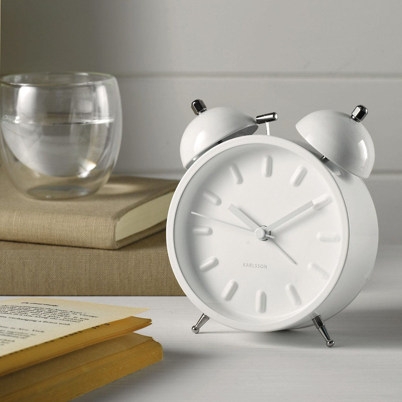 white small karlsson alarm clock the white company 10273 | 7241549dd0403048be14a9b20f508191