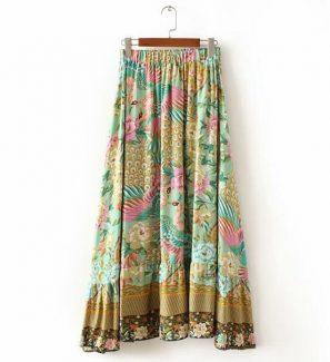 Vintage Elastic Waist Asymmetrical Swing Floral Peacock Bird Print Skirt - eFashionova