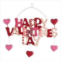 Cartoon Letters And Dancing Hearts Spell Out A Charming Valentineu0027s Day  Wish To One And All. Metal Wire For Hanging.