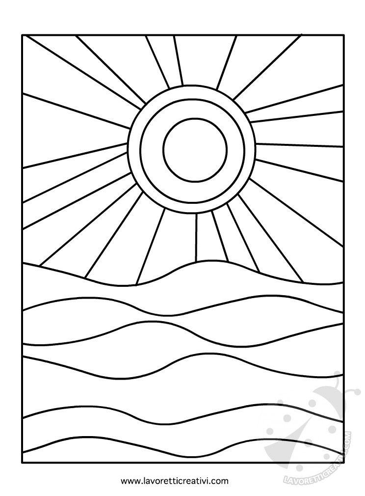 Sole e mare colori caldi e freddi attivit di pittura for Sole disegno da colorare