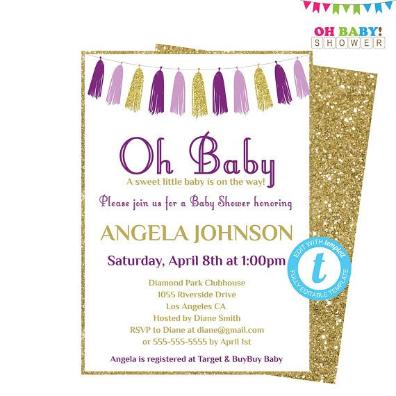 Purple and Gold Baby Shower Invitation Template Girl Baby Shower - baby shower template